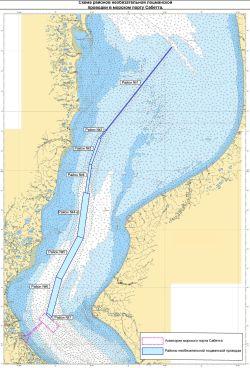 Схема района необязательных лоцманских проводок в районе подходов к морском порту Сабетта