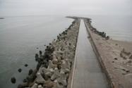 Northern pierhead of Kaliningrad Sea Channel. Ground view