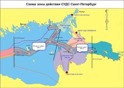 Схема зоны действия СУДС Санкт-Петербург